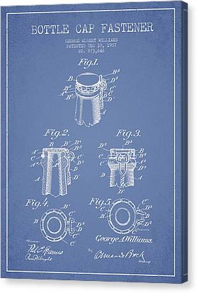 Bottle Cap Fastener Patent Drawing From 1907 - Light Blue Canvas Print by Aged Pixel