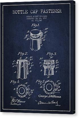Bottle Cap Fastener Patent Drawing From 1907 - Navy Blue Canvas Print by Aged Pixel