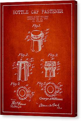 Bottle Cap Fastener Patent Drawing From 1907 - Red Canvas Print by Aged Pixel