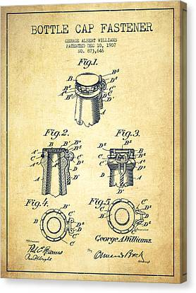 Bottle Cap Fastener Patent Drawing From 1907 - Vintage Canvas Print by Aged Pixel