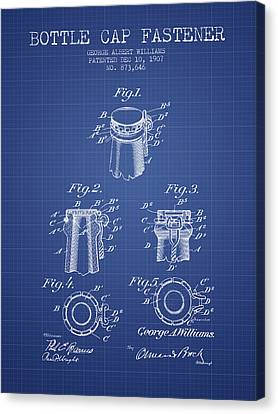 Bottle Cap Fastener Patent From 1907- Blueprint Canvas Print by Aged Pixel