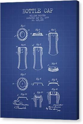 Bottle Cap Patent 1899- Blueprint Canvas Print by Aged Pixel