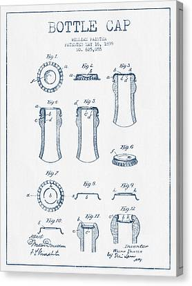 Bottle Cap Patent Drawing From 1899 - Blue Ink Canvas Print by Aged Pixel