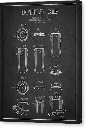 Bottle Cap Patent Drawing From 1899 - Dark Canvas Print by Aged Pixel