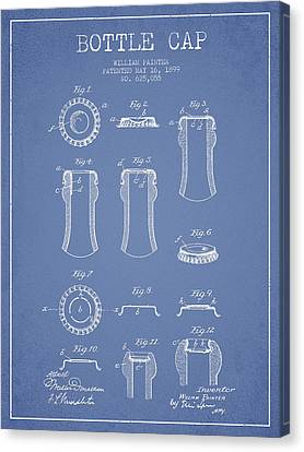 Bottle Cap Patent Drawing From 1899 - Light Blue Canvas Print by Aged Pixel