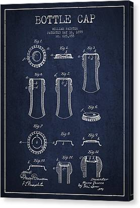 Bottle Cap Patent Drawing From 1899 - Navy Blue Canvas Print by Aged Pixel