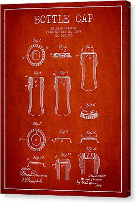 Bottle Cap Patent Drawing From 1899 - Red Canvas Print by Aged Pixel