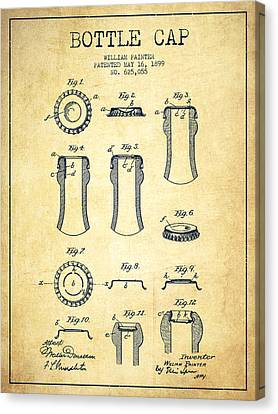 Bottle Cap Patent Drawing From 1899 - Vintage Canvas Print by Aged Pixel