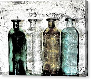 Bottles Against The Wall Canvas Print by Marsha Heiken