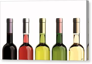 Bottles Of Wine Canvas Print by Bruno Haver