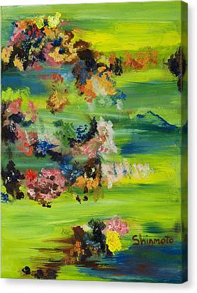 Boughs Green Canvas Print by Vanessa Shinmoto