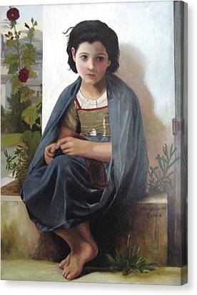 Bouguereau's Knitting Girl Canvas Print by Zelma Hensel