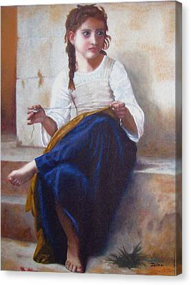 Bouguereau's Sewing Girl Canvas Print by Zelma Hensel