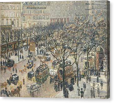 Boulevard Des Italiens Morning Sunlight Canvas Print by Camille Pissarro