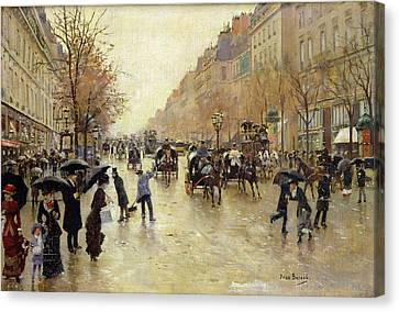 Boulevard Poissonniere In The Rain, C.1885 Oil On Canvas Canvas Print by Jean Beraud