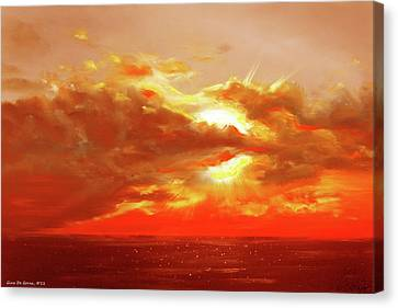 Bound Of Glory - Red Sunset  Canvas Print by Gina De Gorna