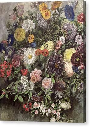 Bouquet Of Flowers Canvas Print by Ferdinand Victor Eugene Delacroix