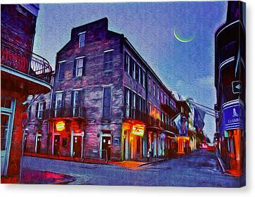 Bourbon Street - Crescent Moon Over The Crescent City Canvas Print by Bill Cannon