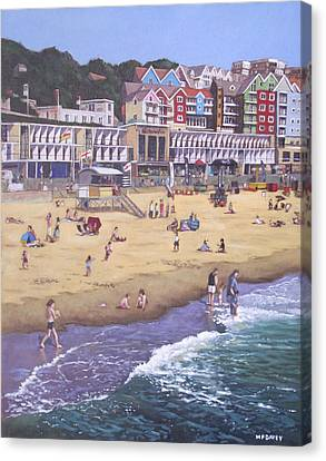 Bournemouth Boscombe Beach Sea Front Canvas Print by Martin Davey