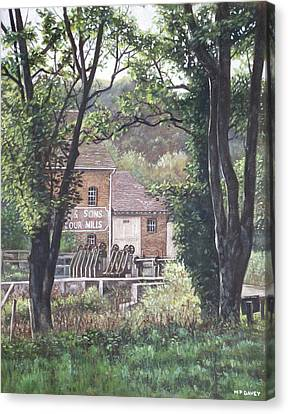 Bournemouth Throop Mill Through Trees Canvas Print by Martin Davey