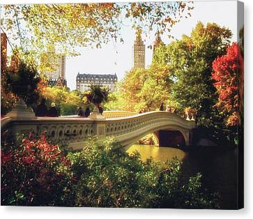 Bow Bridge - Autumn - Central Park Canvas Print by Vivienne Gucwa