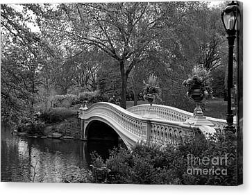Bow Bridge Nyc In Black And White Canvas Print by Christiane Schulze Art And Photography