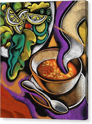 Bowl Of Soup Canvas Print by Leon Zernitsky