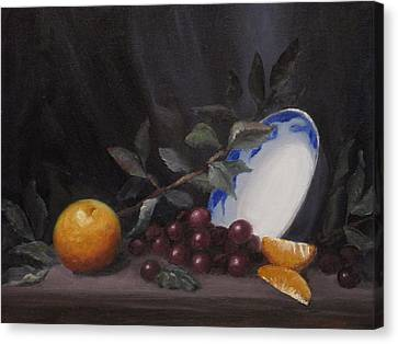 Bowl With Orange And Grapes Canvas Print by Ellen Ebert