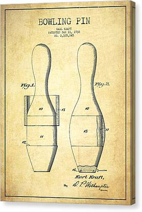 Bowling Pin Patent Drawing From 1938 - Vintage Canvas Print by Aged Pixel
