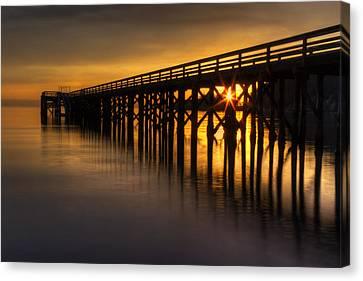 Bowman Bay Pier Sunset Canvas Print by Mark Kiver