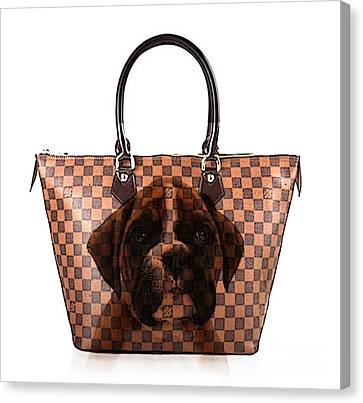 Boxer Pup Hand Bag Painting Canvas Print by Marvin Blaine