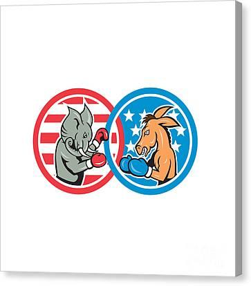 Boxing Democrat Donkey Versus Republican Elephant Mascot Canvas Print by Aloysius Patrimonio