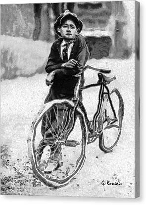 Boy And Bicycle Canvas Print by George Rossidis