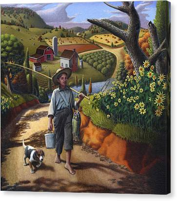 Boy And Dog Country Farm Life Landscape - Square Format Canvas Print by Walt Curlee