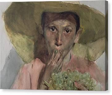 Boy Eating Grapes Canvas Print by Joaquin Sorolla y Bastida