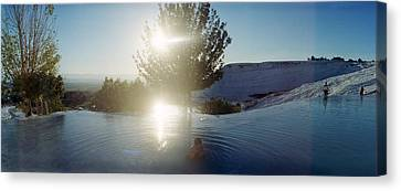 Boy Enjoying The Hot Springs Canvas Print by Panoramic Images
