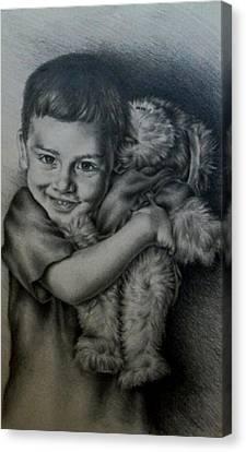 Boy Hugging Teddy Canvas Print by Lisa Marie Szkolnik