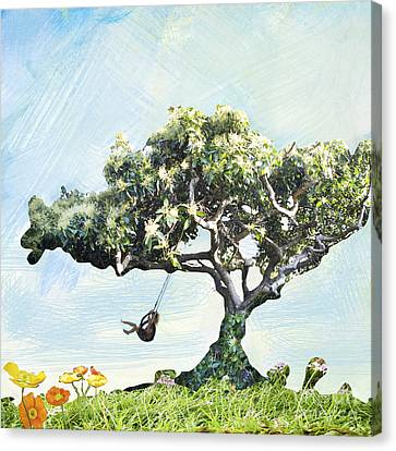 Boy On A Swing Canvas Print by Linde Townsend