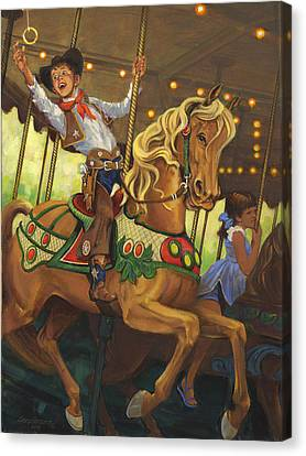 Boy On Carousel Horse Canvas Print by Don  Langeneckert