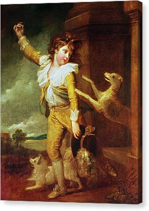 Boy With Dogs Oil On Canvas Canvas Print by Richard Cosway
