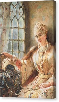 Boyar's Wife At The Window Canvas Print by Konstantin Egorovich Makovsky