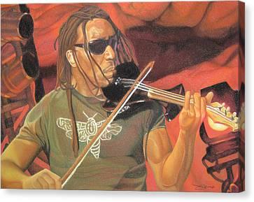 Boyd Tinsley At Red Rocks Canvas Print by Joshua Morton