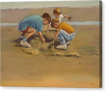 Boys In The Sand Canvas Print by Sue  Darius