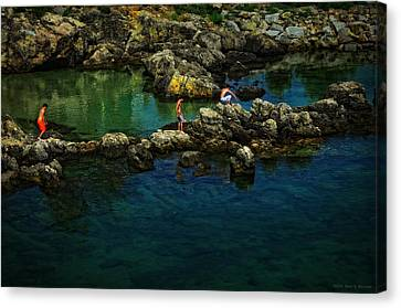 Boys On The Rocks Canvas Print by Mary Machare