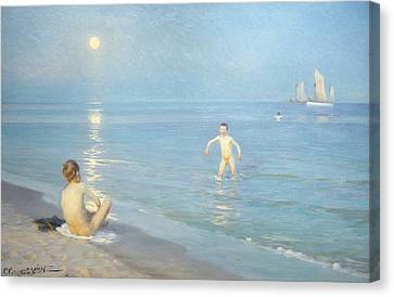 Boys On The Seashore In A Summer Night At Skagen 1899  Canvas Print by Peder Severin Kroyer