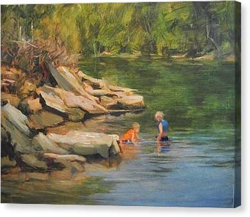 Boys Playing In The Creek Canvas Print by Margaret Aycock