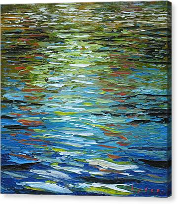 B.p. Oil In The Water Canvas Print by Les Lyden