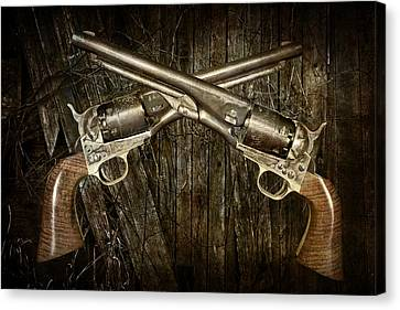 Brace Of Colt Navy Revolvers Canvas Print by Randall Nyhof