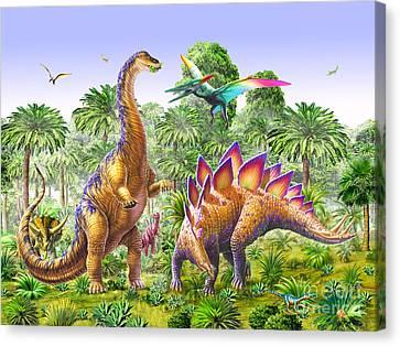 Brachiosaur And Stegasaur Canvas Print by Adrian Chesterman
