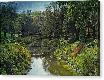 Bradley Park Japanese Bridge 05 Textured Canvas Print by Thomas Woolworth